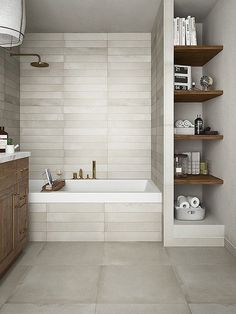 A small bathroom is not easy to design. Looking for some fresh ideas to design your small bathroom? Well, let's take a look at these small bathroom ideas! Bathroom Interior, Bathroom Storage, Bathroom Organization, Organization Ideas, Organizing, Bathroom Shelves, Shelves In Shower, Bathroom Renovations, Home Remodeling