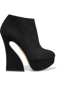 Heel measures approximately 155mm/ 6 inches with a 35mm/ 1.5 inch platform Black suede Zip fastening along side Made in Italy