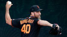 ▶︎ Madison Bumgarner throws live BP to Hunter Pence, Denard Span