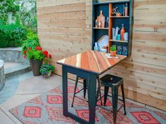 Wish you had more space for entertaining. HGTV shows you how to build a fold-away table and cabinet so you'll be ready for a party anytime, indoors or out. Fold Away Table, Building A Porch, Building Plans, Diy Deck, Diy Porch, Deck Patio, Deck Furniture, City Furniture, Simple Furniture