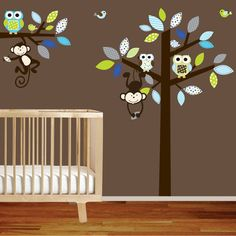 Vinyl Wall Tree Decals with monkeysowls and birds by wallartdesign, $135.00