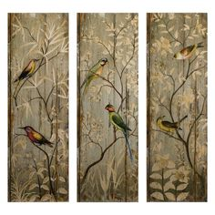 Amazon.com: IMAX Calima Bird Wall Decor, Set of 3: Triptych Wall Art: Posters & Prints