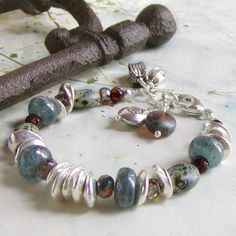 Blue Kyanite Bracelet with Amber Glass and Greek Ceramic Beads $49