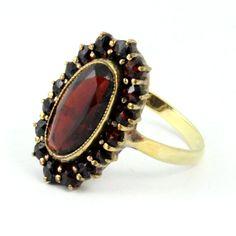 14K Antique Victorian Bohemian Garnet Cluster Ring. $288.00, via Etsy.
