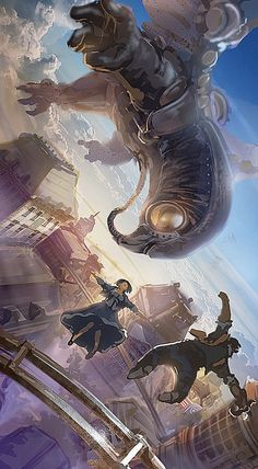 That big giant mechanical bird (SongBird) in Bioshock Infinite, pretty freaking awesomeeeeee Bioshock 2, Bioshock Infinite, Bioshock Series, Bioshock Artwork, Video Game Art, Video Games, Geeks, Dragons, Fanart