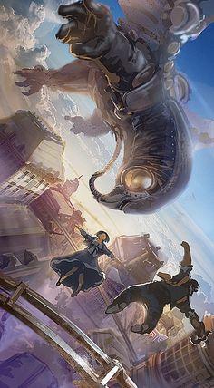 That big giant mechanical bird in Bioshock Infinite, pretty freaking awesomeeeeee