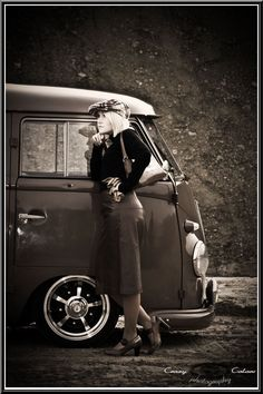 Vintage photo of a VW T2 - at the time picture was taken, VW Van was brand new...
