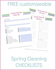 FREE spring cleaning checklists and printables that you can edit and customize for YOUR specific home! Get yours now...