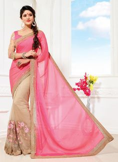 Lively Faux Chiffon Beige and Pink Embroidered Work Classic Saree