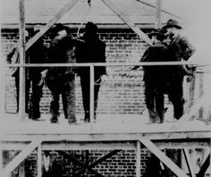 """X - Notorious train robber Tom """"Black Jack"""" Ketchum is prepared for the gallows on April 26th, 1901. Due to human error, the rope would be too long--allowing his body to fall too quickly during the drop, decapitating him.  Image courtesy of the Library of Congress."""