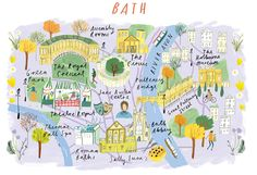 Clair Rossiter Illustration — Bath, an illustrated map for The Art Group. Bath England Map, Travel Maps, Travel Posters, Design Thinking, Bath Map, Avon Park, Travel Insurance Policy, England And Scotland, Map Art
