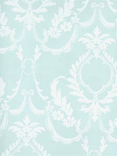 Sold in 3 roll incriments only, Splendor Wallpaper Book, White and Light Blue Damask Wallpaper