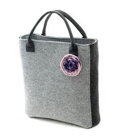 Handbag made of stiff felt with pinkish felted flower by Anardeko