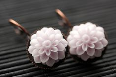 Pale Purple Dahlia Flower Earrings. French Hook Earrings. Pale Purple Flower Earrings. Lever Back Earrings. Handmade Jewelry. by StumblingOnSainthood from Stumbling On Sainthood. Find it now at http://ift.tt/24XRyzX!