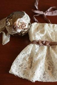 Image of Newborn Lace Dress and Headband