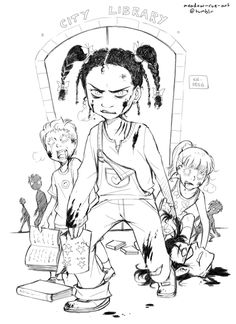 """Tamika Flynn  meadow-rue-art@tumblr  """"At the head of the dazed and shambling pack was their apparent chosen leader, 12-year-old Tamika Flynn — her mouth clenched in a blood-crusted snarl, and carrying the severed head of a librarian in one hand, and a gore-streaked sticker chart in the other. Eyewitnesses who dared to get close enough to read the chart reported that Tamika had even finished """"Cry, The Beloved Country,"""" which is very impressive for her reading level. Well done, Tamika!"""""""