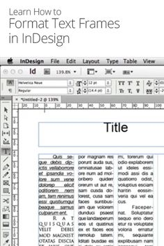 How to Format Text Frames in InDesign