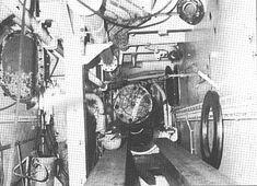 Work inside the cramped shaft tunnel. Refitting RMS Queen Elizabeth Cunard Line. Rms Queen Elizabeth, Ocean, The Ocean, Sea