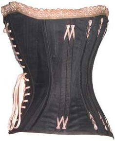 Boned with watchspring and possibly whalebone. Features a heart-shaped bust, which became popular at the end of the 19th century for evening wear and cleavage enhancement.  The diagonal seaming gave the corset extra strength and created a more pronounced hourglass figure.