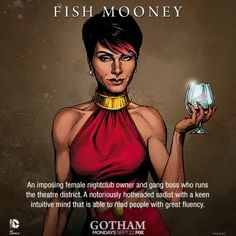 DC Comics recently revealed a new illustrated character card for Jada Pinkett Smith as Fish Mooney, one of many villains in FOX's forthcoming Batman origins series, 'Gotham. Gotham Comics, Gotham Tv, Gotham Batman, Batman Comics, Batman Robin, Superman, Dc Comics, Gotham Characters, Female Characters