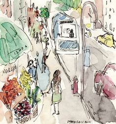 Street Scene with Corner Fruit Market in NYC by Brooke O'Connell