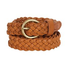 637b75b39421 Cognac Skinny Braid Belt ( 20) ❤ liked on Polyvore featuring accessories