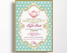 Kitchen tea invitation high tea invitation macarons teapot spots pink aqua gold tea party.  PLEASE NOTE THIS IS A GOLD FOIL LOOK INVITATION.