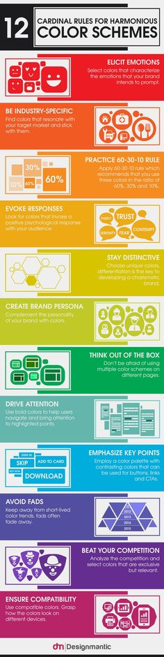 Psychology : Infographic: 12 Cardinal Rules For Harmonious Color Schemes