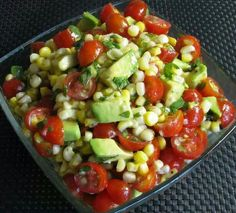 Grilled corn, avocado, and tomato salad