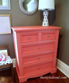coral painted chest - starburst orange which is a Benjamin Moore color