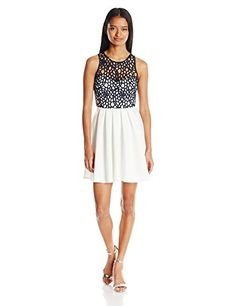 Sequin Hearts by My Michelle Women's Sleeveless Cut Out Dress, Ivory/Navy, 5 $55.00