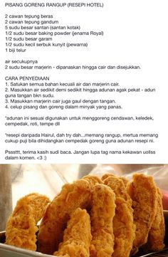 Pisang goreng Malaysian Cuisine, Malaysian Food, Asian Snacks, Asian Desserts, Malaysian Dessert, Banana Fritters, Breakfast Crepes, Fried Bananas, Snack Recipes