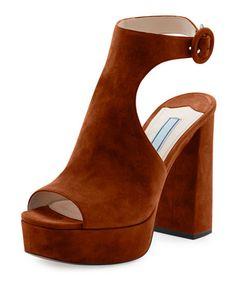 PRADA Suede Ankle-Wrap 115Mm Sandal, Brown. #prada #shoes #
