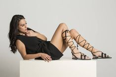 """Unique lace up grecian sandals """"Calanthe"""". Perfect to complete your outfit with a maxi or mini dress. Designed and handcrafted in Greece."""
