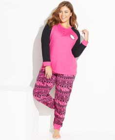 77cc670148d Hello Kitty Plus Size Lovely Dreamer Knit Top and Fleece Bottom Pajama Set  Plus Size Pajamas