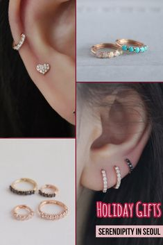 Dainty ear piercings and hugging hoops are perfect as holiday gifts for your loved ones! Ear Jewelry, Bridal Jewelry, Jewelry Accessories, Women Jewelry, Cartilage Earrings, Ear Piercings, Women's Earrings, Bridesmaid Earrings, Wedding Earrings