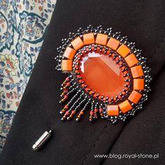Beaded Jewelry Volcano – broszka z kryształem Oval Swarovski Bead Embroidery Patterns, Bead Embroidery Jewelry, Beaded Bracelet Patterns, Beaded Embroidery, Beading Patterns, Barrettes, Fabric Beads, Beaded Brooch, Beads And Wire