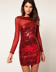 ASOS Body-Conscious Dress with Mixed Sequin & Mesh - StyleSays