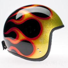 Davida jet Helmets:  Complex Cosmic Flake  Cosmic Flake Black Orange Flames  Product Code: 80753