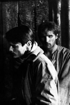 Andrei Tarkovsky and Anatoly Solonitsyn on the set of Andrei Rublev (1966)