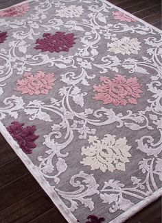 Jaipur Rugs - Machine Made Floral Pattern Art Silk/ Chenille Gray/Purple Area Rug - Every design tells a story with the Fables Collection.