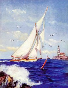 Sailing by the Lighthouse by Albert B. Marks Painting Print on Canvas