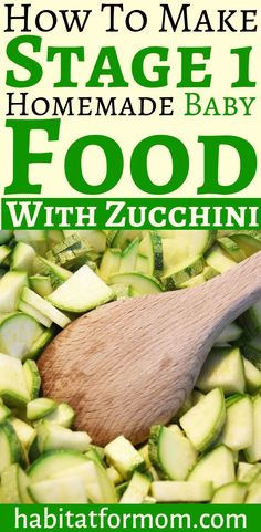 Zucchini is a great way to start introducing solids to your baby! How to prepare zucchini for homemade baby food. Zuchinni Baby Food, Baby Zucchini Recipe, Butternut Squash Baby Food, Baby Puree Recipes, Pureed Food Recipes, Vegan Recipes, Introducing Baby Food, Introducing Solids, Freezer Baby Food
