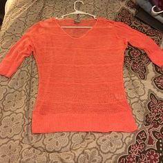 See through 3/4 sleeve sweater Like new condition ! Vanity Tops Tees - Long Sleeve