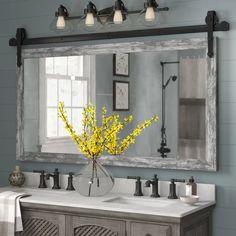 Farmhouse Bathroom Mirrors, Bathroom Mirror Makeover, Farmhouse Style Bathrooms, Bathroom Wood Wall, Shiplap Bathroom, Small Rustic Bathrooms, Bathroom Ideas, Mirrors For Bathrooms, Bathroom Wall Colors