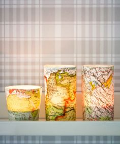 Paper Map Candle Jars.