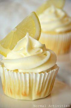 lemon cupcakes with lemon curd filling and lemon buttercream.