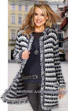 la capa que hace punto para las mujeres Crochet Jacket, Knit Jacket, Crochet Coat, Crochet Cardigan, Crochet Clothes, Crochet Fringe, Beautiful Crochet, Knitting Projects, Crochet Projects