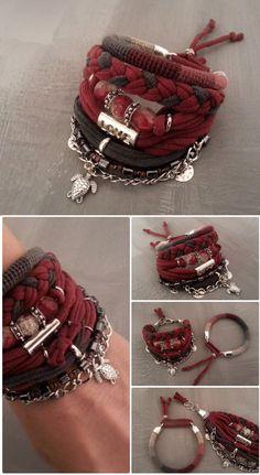 Boho Gypsy Bracelet Burgundy Bohemian Bracelet Multiple Strands Hippie Bracelet Boho Bracelet Stack Turtle Charm Nomad Jewelry (27.00 USD) by vanessahandmade
