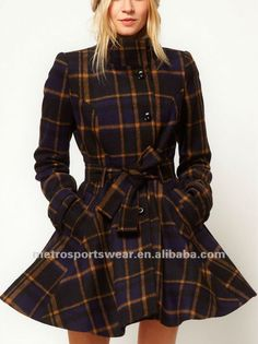 I'd wear pants with it though. Hot Outfits, Fall Outfits, Fashion Outfits, Womens Fashion, Fashion Models, Fit And Flare Coat, Cool Coats, Belted Coat, Plaid Skirts